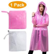 Coolnice EVA Rain Poncho for Adults Women Men Reusable Raincoat with Pockets Rain Coat with Hoods and Sleeves for Camping Hiking Traveling Fishing Pink XL
