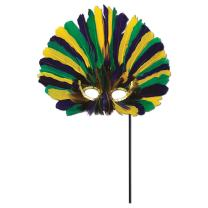 Beistle 57067-GGP Feathered Mask with Stick