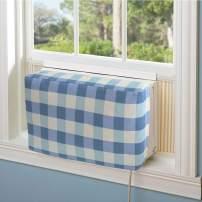 Jeacent Indoor Air Conditioner Cover Double Insulation, Blue Grid Medium