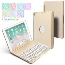 BHUATO Compatible iPad 9.7 Keyboard Case 2018/2017/iPad Pro 9.7 /iPad Air 2 /Air Wireless Bluetooth Backlit 7 Color 130 Degree Flip Cover Auto Wake Sleep Smart iPad Keyboard with Tablet Protector