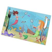 TianHeYue Fantasy Design Mermaid Placemats Set of 6, Washable Table Place Mats for Kitchen Dining Home Decoration, 12 X 18 Inch
