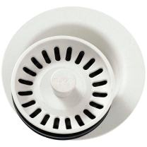Elkay LKQD35PA Polymer Disposer Flange with Removable Basket Strainer and Rubber Stopper, Parchment