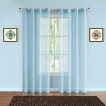 "Warm Home Designs Pair of 2 Standard Size 54"" (Width) x 84"" (Length) Aqua Blue Sheer Window Curtains. 2 Elegant Voile Panel Drapes are 108 Inch Wide Total - K Baby Blue 84"""
