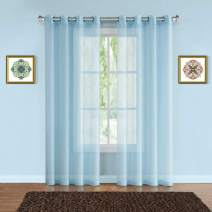 "Warm Home Designs Pair of 2 Longer Size 54"" (Width) x 95"" (Length) Baby Blue (Aqua) Sheer Window Curtains. 2 Elegant Voile Panel Drapes are 108 Inch Wide Total - K Baby Blue 95"""