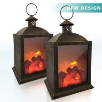 Lanterns Decorative Vintage Lamp Fake Fireplace Metal led lantern Battery Powered 3D Simulation Flame Hand Painted Ironwork Realistic Fireplace Lantern With 6 Hours Timer Decor For Indoors(2 Pack)