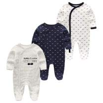 Kiddiezoom Baby and Toddler Boys' 3-Pack Snug Fit Footed Cotton Pajamas