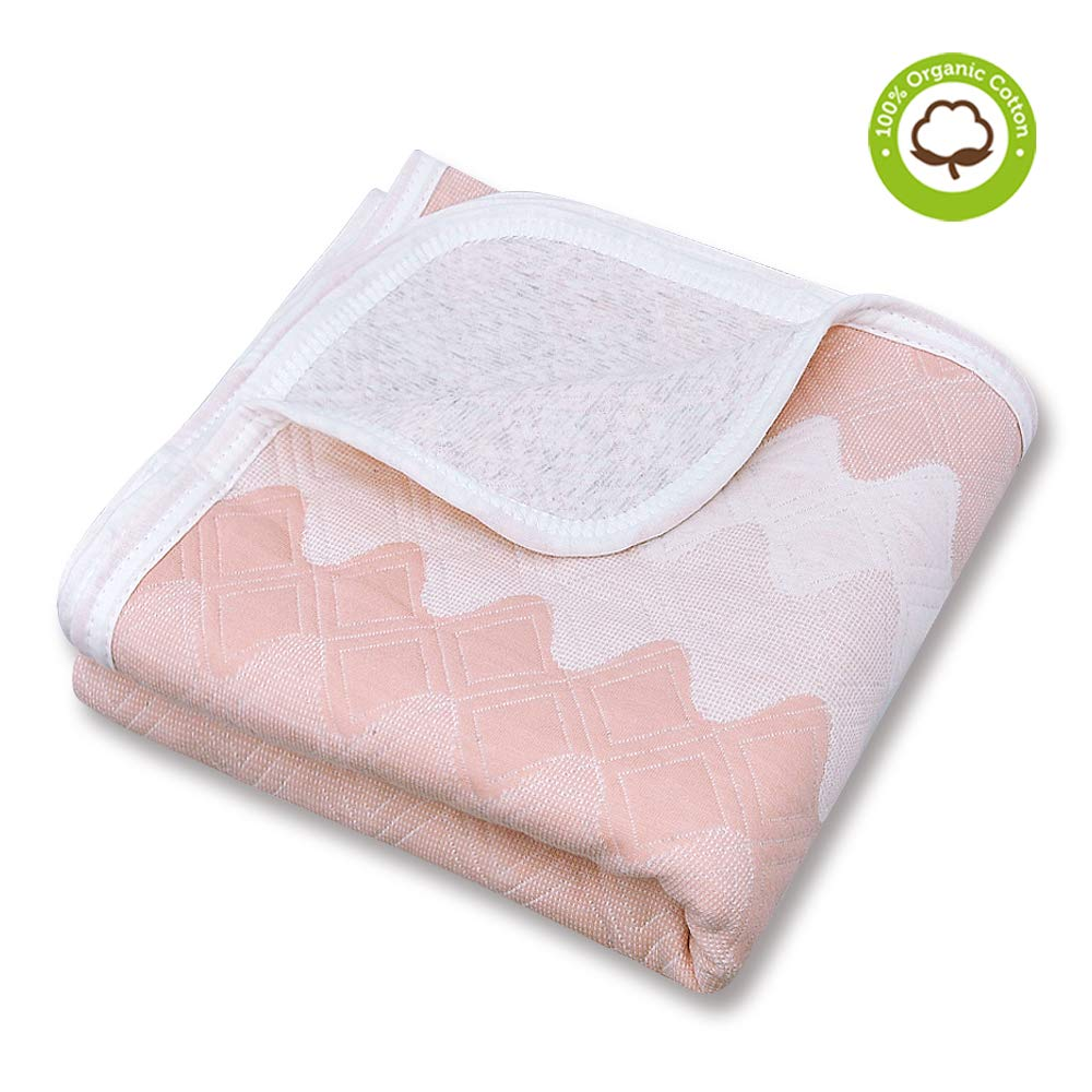 Organic Cotton Patterned Baby Crib Blanket for All Seasons - Warm, Breathable, Super Soft, Thick and Light Weight Quilted Toddler Blanket for Boys and Girls 39''x39'' Large - Pink Wave