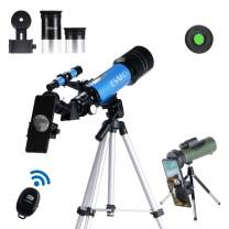 ESAKO Telescope for Beginners & Adults 70mm Astronomical Refractor Telescopes with Height Adjustable Tripod Monocular Phone Mount & Moon Filter & Remote Control