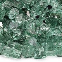 American Fireglass 10-Pound Reflective Fire Glass with Fireplace Glass and Fire Pit Glass, 1/2-Inch, Evergreen