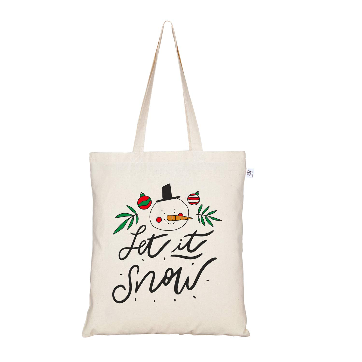 EcoRight Cotton Canvas Let it snow Christmas Women Tote Bag Reusable Eco-friendly Printed Totes for Shopping School Work Gym Travel Beach, 15 x 16 inches