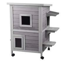 Aivituvin Outdoor Cat House Weatherproof Wooden Kitty Condo Indoor Shelter