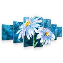 Startonight Large Canvas Wall Art Flowers - White Daisies on Blue Background - Huge Framed Modern Set of 7 Panels 40 x 95 Inches