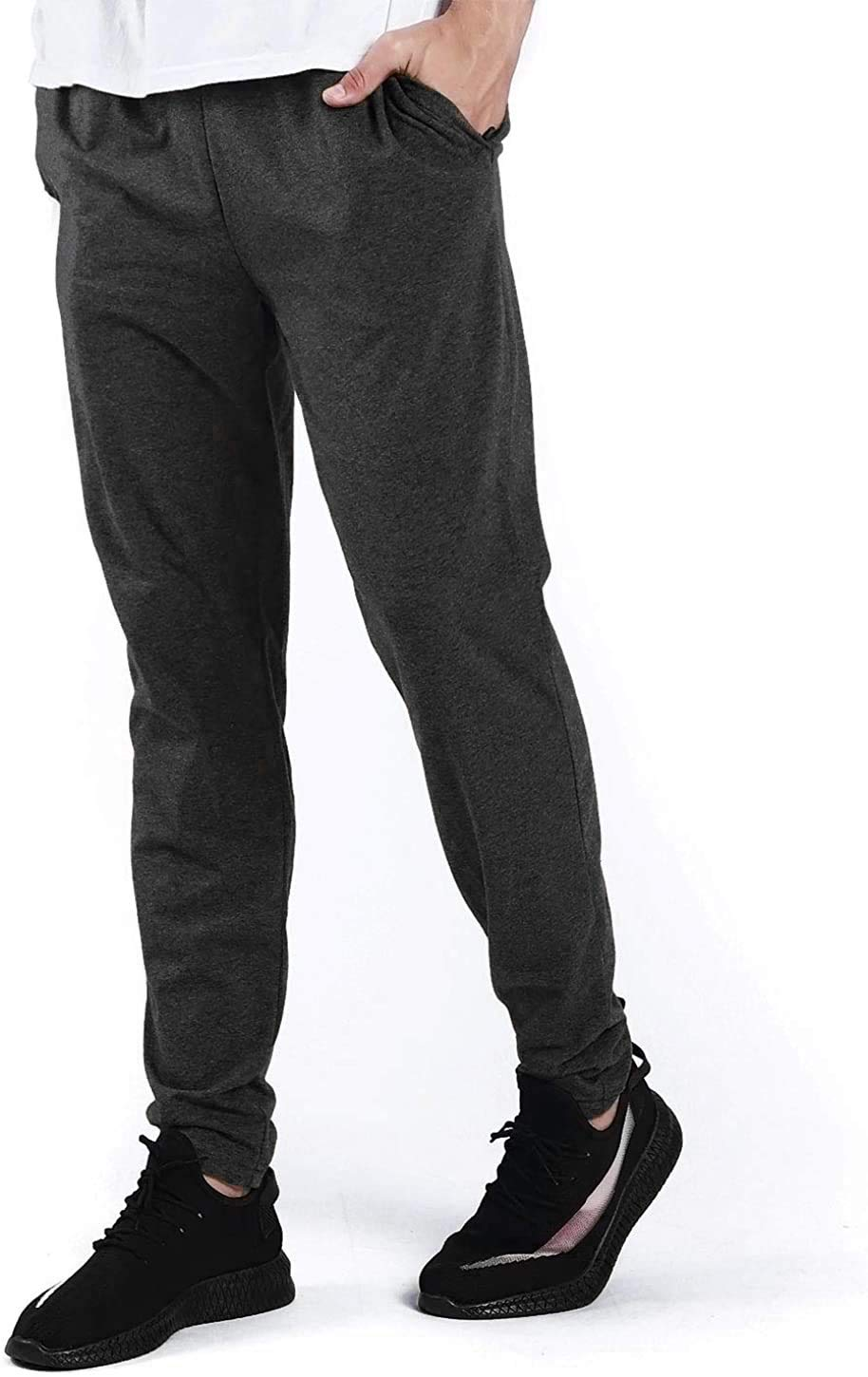 Ogeenier Men's Jogger Running Pants with Zipper Pockets - Athletic Workout Training & Gym Sweatpants
