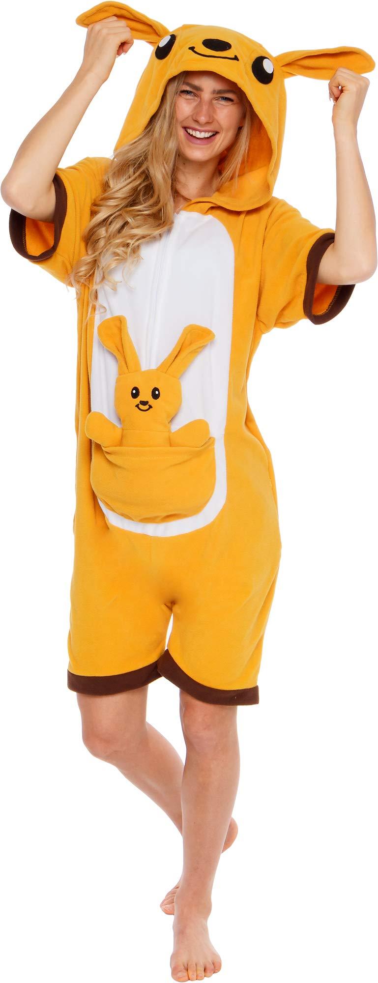 Silver Lilly Kangaroo Short Sleeve Animal Pajamas - Plush Adult One Piece Summer Cosplay Costume