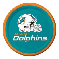 Creative Converting Officially Licensed NFL Dessert Paper Plates, 96-Count, Miami Dolphins
