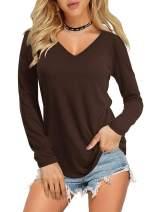 Amoretu Women Summer Short Sleeve V Neck T Shirts Basic Tee Tops