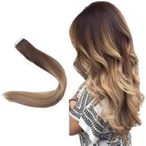 Easyouth 16inch Glue in Hair Seamless Skin Weft Color 4 Medium Brown Fading to 18 Highlighted with 27 Balayage Tape in Hair Extensions 40 Gram per Pack Real Human Hair Extensions