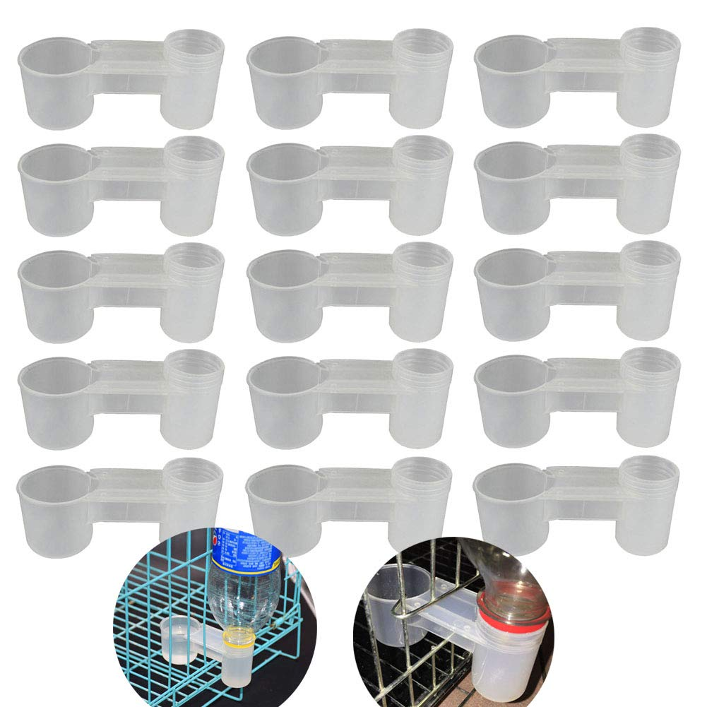 VinBee 15 Pcs Plastic Soda Pop Water Bottle Bird Drinker Feeder Cup Chicken Pigeons Feeder Trough Animal Feeding Accessories