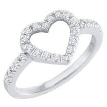 Dazzlingrock Collection 0.18 Carat (ctw) 10K Gold Round Diamond Ladies Bridal Heart Shaped Promise Engagement Ring