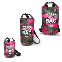 HYCOPROT Waterproof Dry Bag 5L/10L/20L/30L, Floating Waterproof Backpack with Single Double Shoulder Strap Camo Rucksack for Kayaking Swimming Boating Fishing Travelling Camping Outdoors