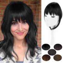 AISI BEAUTY Clip in Bangs Hair Piece One Piece Thin Fringe Front Neat Air Bangs Extensions with Temple Hand Made (1B)