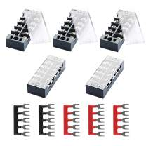 DELIXI 10pcs (5 Sets)- 5pcs 600V 25A 4 Positions Double Row Screw Terminal Strip + 5pcs 600V 25A 4 Positions Black Red Pre-Insulated Terminal Barrier Strip TB2504
