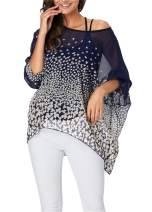 iNewbetter Womens Floral Print Batwing Sleeve Chiffon Poncho Blouse Summer Tunic Tops