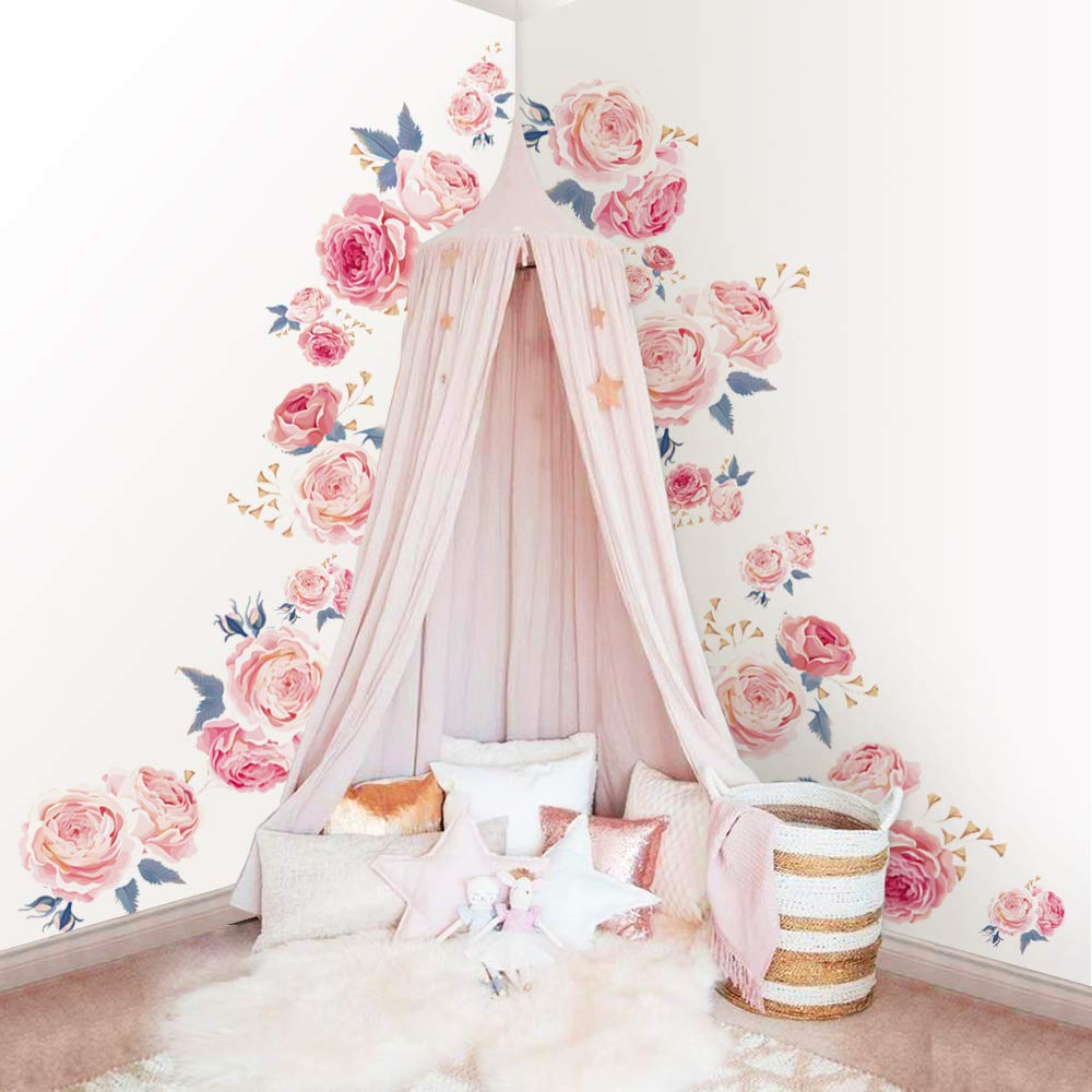 decalmile Pink Rose Wall Stickers Removable Flower Wall Decals Bedroom Living Room Wall Art Décor (2 Pack)