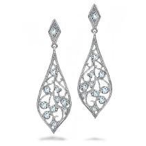 Bridal Teardrop Shaped Cubic Zirconia Dangle CZ Filigree Dangle Earrings For Women Prom 925 Sterling Silver