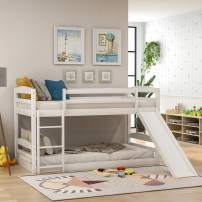 Low Bunk Beds for Kids and Toddlers, Wood Bunk Beds No Box Spring Needed (White Twin Bunk Beds with Slide)