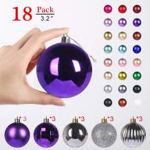 GameXcel Christmas Balls Ornaments for Xmas Tree - Shatterproof Christmas Tree Decorations Large Hanging Ball Purple & Silver3.2 x 18 Pack