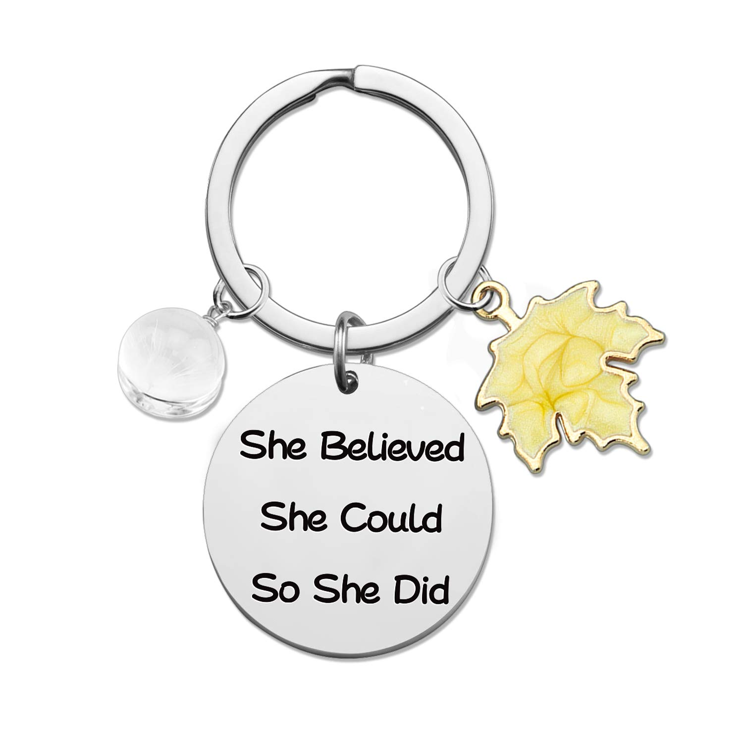 HN HNHB Keychain She Believed She Could So She Did Maple Leaf Charm for Mother Daughter Maple Leaf Lover Birthday