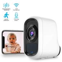 Outdoor Wireless Security Camera, 1080P Rechargeable Battery Security Cameras with AI Detection, Night Vision,Two-Way Audio,Cloud Storage, IP66 Waterproof, Activity Alert, Deterrent Alarm