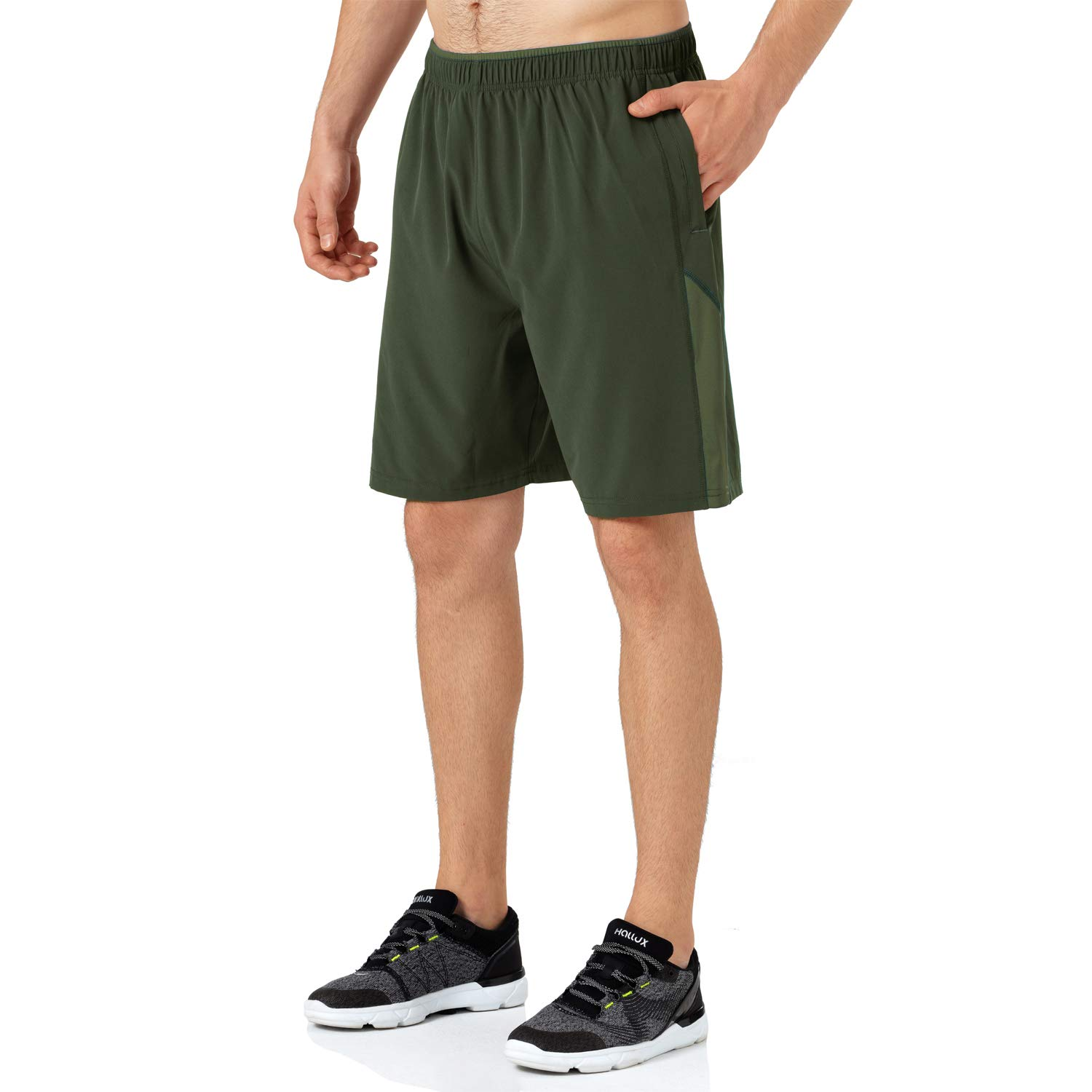 Uni Clau Athletic Mens Running Shorts Quick Dry Sports Workout Gym Jogger Shorts with Zip Pocket