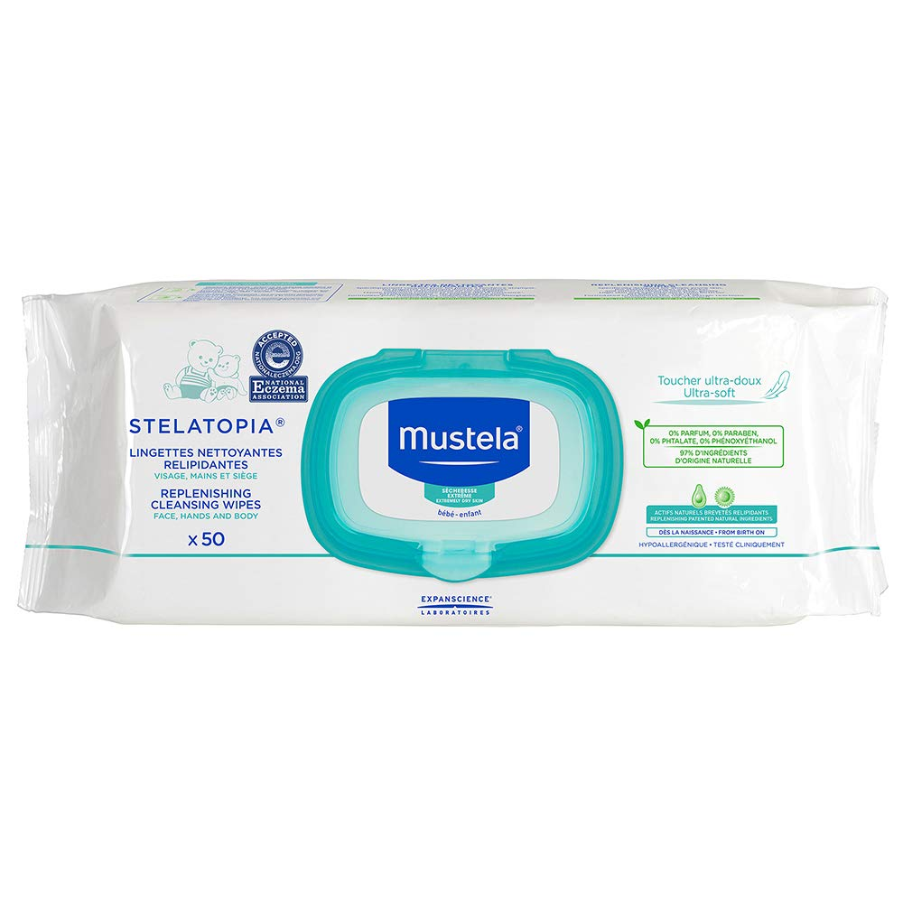 Mustela Stelatopia Replenishing Cleansing Wipes, for Eczema-Prone Skin, Natural Baby Wipes, Fragrance-Free, Alcohol-Free, 50 Count