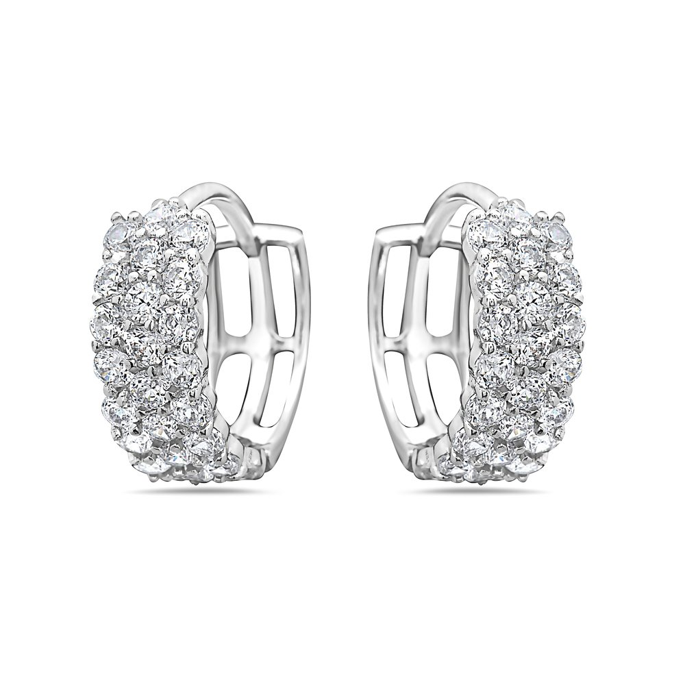 925 Sterling Silver Round CZ Covered Huggie Hoop Earrings - For Women