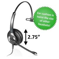 Leitner LH240XL Plush Corded Office Telephone Headset with Noise Cancelling Microphone - Includes 5-Year Warranty
