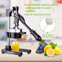 Commercial Citrus Juicer Orange Manual Juice Squeezer Heavy Duty Fruit Presser For Lime Grapefruit Juice Stainless Steel Extractor Cast Iron Body - Bonus Shared Skimmer Spoon
