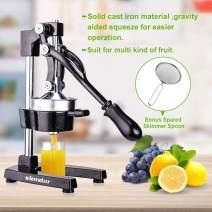 Commercial Citrus Juicer Orange Manual Juice Squeezer Heavy Duty Fruit Presser For Lime Grapefruit Juice Stainless Steel Extractor Cast Iron Body - Bonus Shared Skimmer Spoon