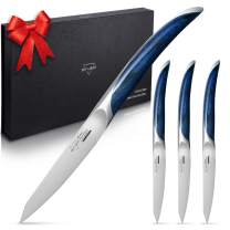 Steak Knives, SKY LIGHT Steak Knife Set of 4 Non Serrated German High Carbon Stainless Steel with Gift Box, Star-shine PakkawoodHandles, for Restaurants, Kitchen, Camping, Gift Box Included