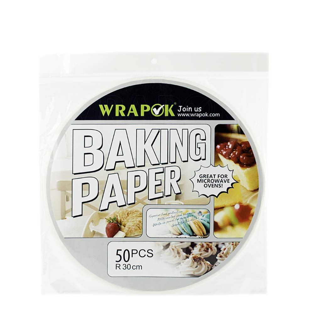 WRAPOK 12 Inch Bamboo Steamer Paper Round Perforated Parchment Air Fryer Liner Non-stick 50 Count for Baking Steaming Basket Cooking Cake Pans Circle