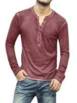 Pengfei Mens Long Sleeve Shirts Henley Slim Fit Lightweight V Neck Casual Cotton Basic T Shirts