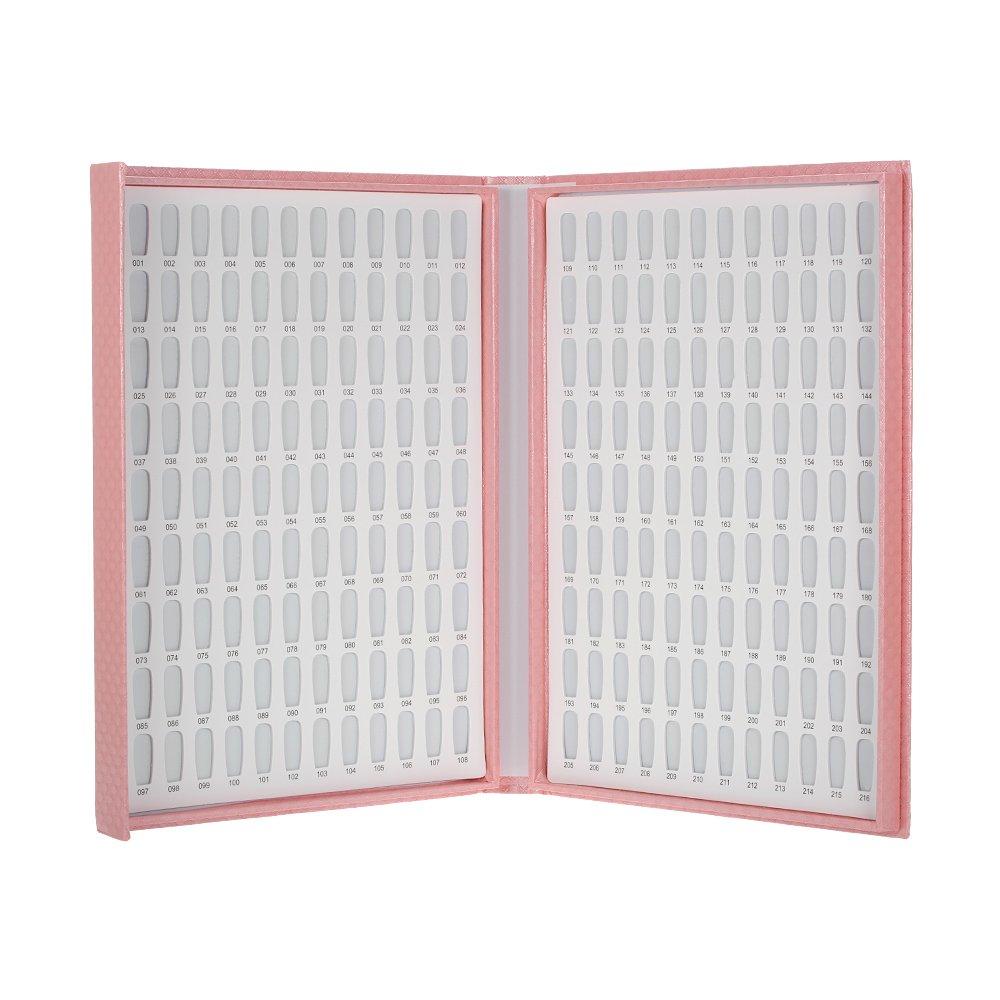 Nail Display Chart,Anself 216 Colors Nail Gel Polish Color Card with 240 Tips Nail Art Salon Set Pink