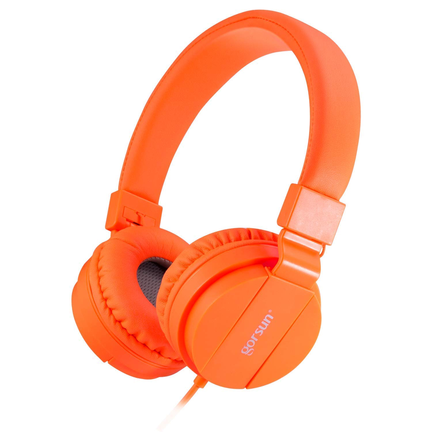 ONTA gorsun Foldable On Ear Audio Adjustable Lightweight Headphone for chlidren Cellphones Smartphones iPhone Laptop Computer Mp3/4 Earphones (Orange)
