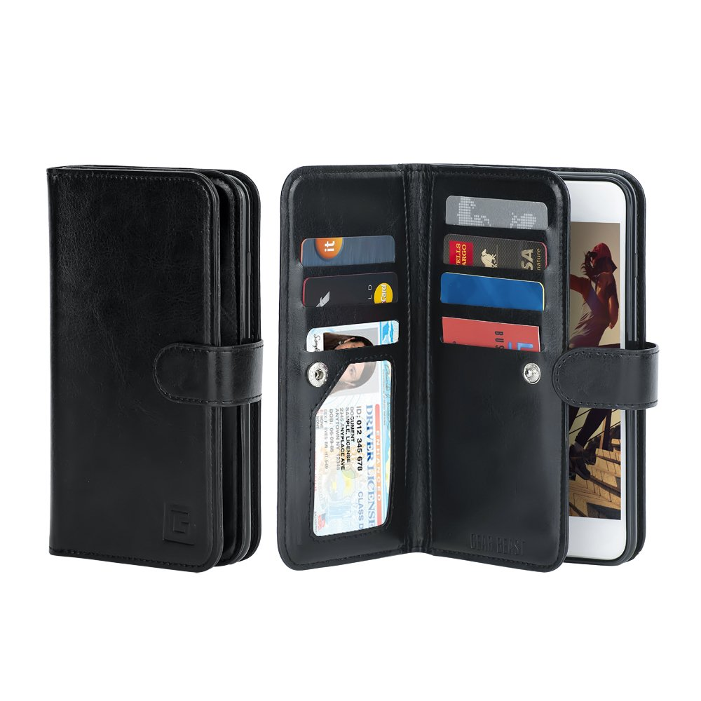 Gear Beast Flip Cover Dual Folio Case fits iPhone 8/7 Wallet Case Slim Protective Lychee PU Leather Case 7 Slot Card Holder Including ID Holder 2 Inner Pockets Stand Feature Wristlet (Midnight Black)