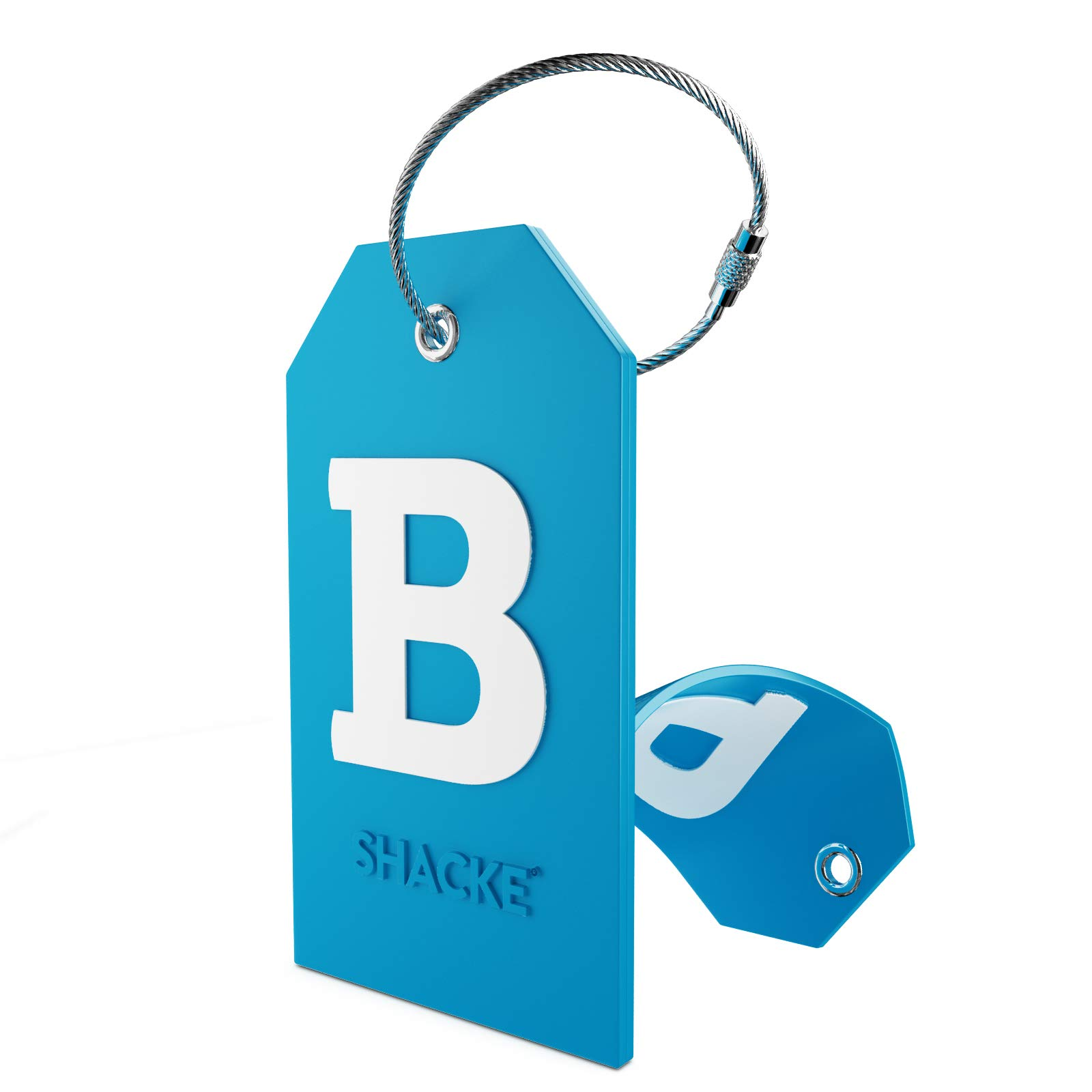 Initial Luggage Tag with Full Privacy Cover and Stainless Steel Loop (Aqua Teal) (B)