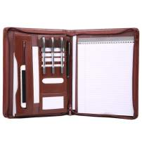 Leathario File Folder Padfolio Writing Pad Business Presentation Folder Portfolio (Brown-A4-2)