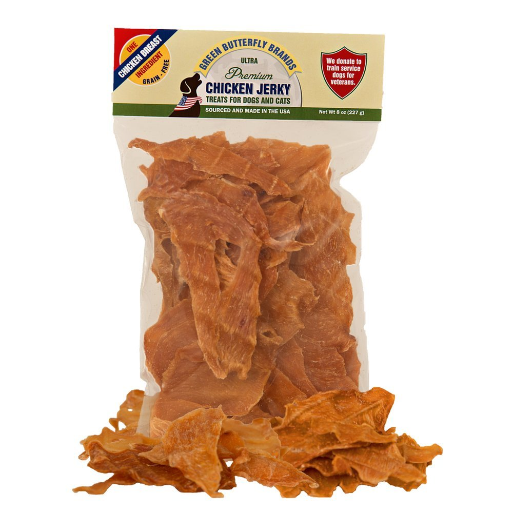 Green Butterfly Brands Chicken Jerky - Dog Treats Made in USA Only - 1 Ingredient: USDA Grade A Chicken Breast - No Additives or Preservatives - Grain Free Snack, All Natural Premium Strips, 8 Ounces