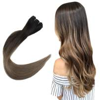 Easyouth Weave Hair Real Human Hair Extensions Ombre Balayage Color Darkest Brown Fading to Ash Brown -20inches 100g, Hair Bundles Easy to Apply for Wedding Brazilian Hair Extensions