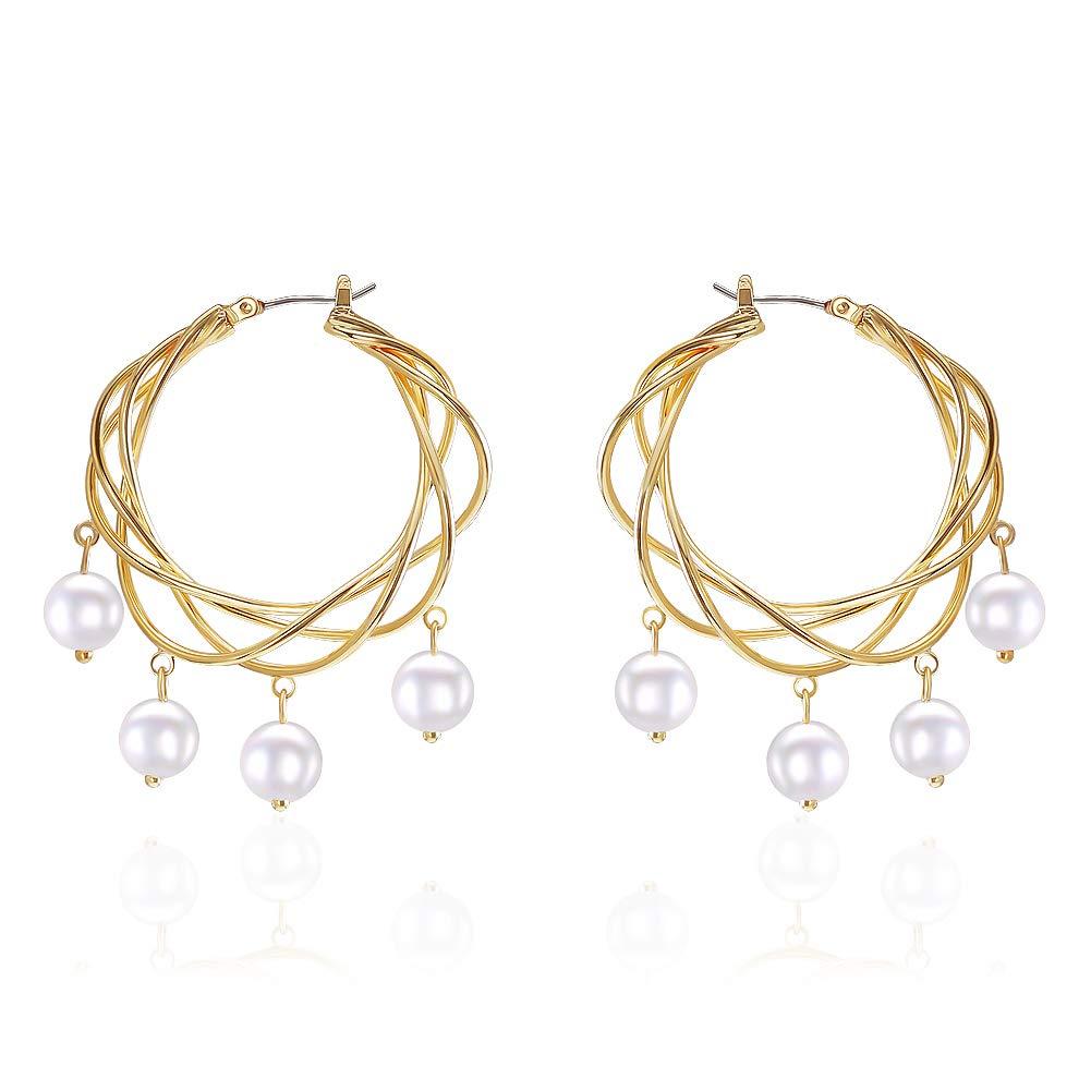 LILIE&WHITE Austrian Crystal Rhinestone Chandelier Dangle Earrings Bridal with Imitation Pearl Jewelry
